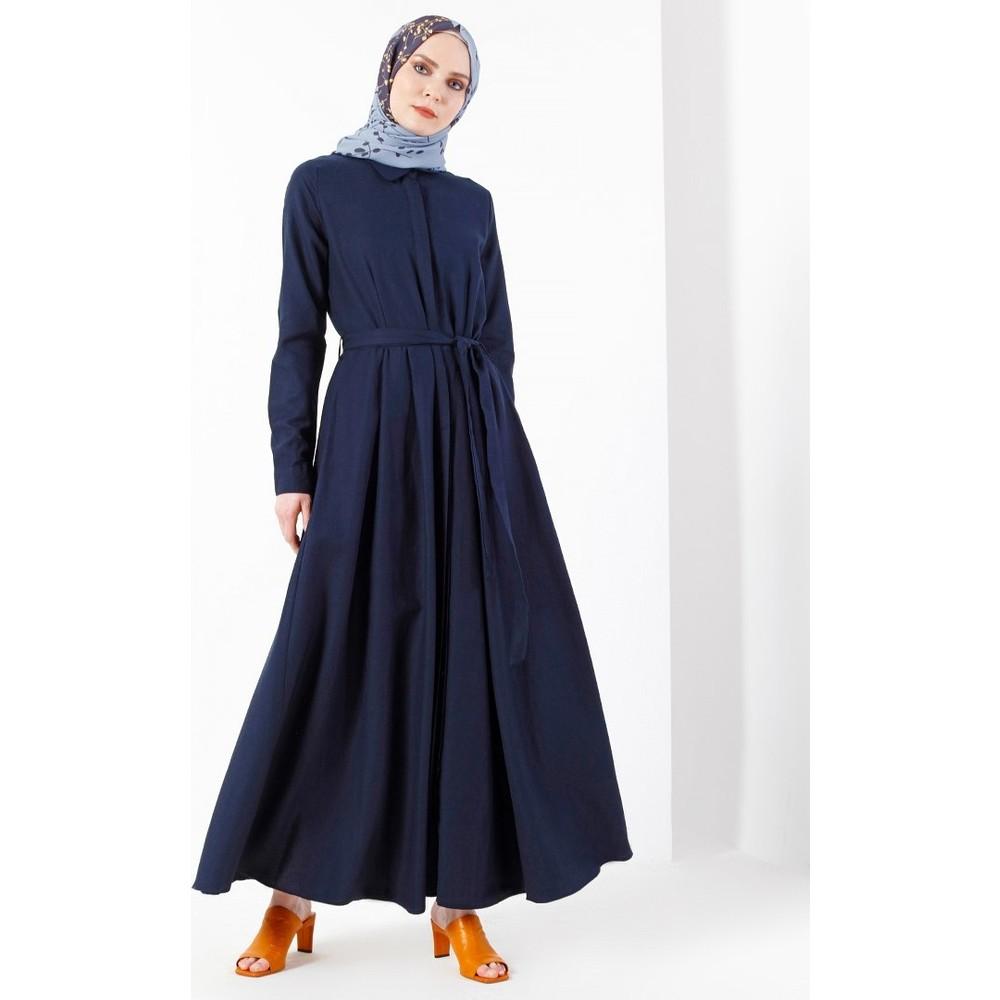 7e97c69bb870a Refka Doğal Kumaştan Gizli Düğmeli Elbise - Lacivert Fiyatı