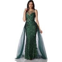 Pierre Cardin Yeşil Çiçekli Pelerinli Uzun Abiye Elbise