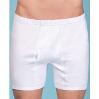 Berrak %100 Pamuk Penye Erkek Paçalı Külot - 1055-Beyaz