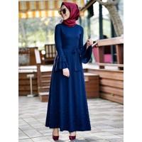 İnşirah İnci Detaylı Elbise - Lacivert