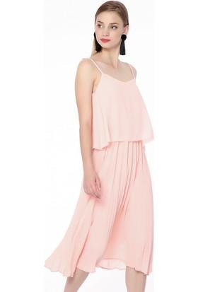 Modamoss Askılı Pliseli Elbise Pudra 584