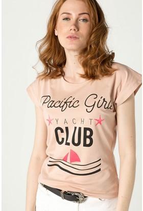 Modamoss Yazı Baskılı Kadın T-Shirt Pudra 0260