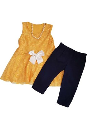 Mini Çitlenbik Sarı Taytlı Kız Elbiseli Takım