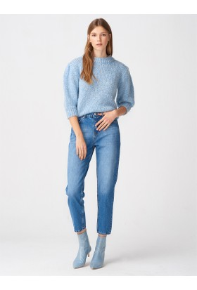 Dilvin 7577 Klasik Mom Pantolon-Mavi