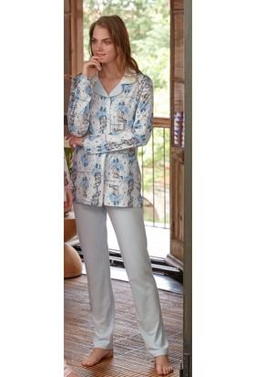Feyza 3309 Önden Düğmeli Uzun Kollu Kadın Pijama Takımı