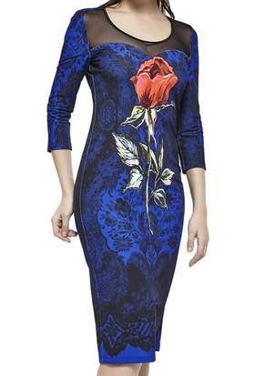 Dodona 2778 Tasarım Çiçekli Gece Elbisesi
