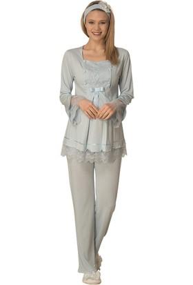 Şık Mecit Robası Taşlı Lohusa Pijama Takımı