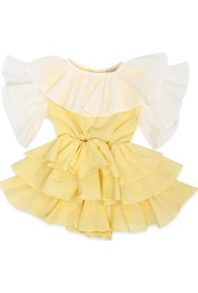 Tülü Akkoç Kat Kat Fırfırlı Elbise -Sarı