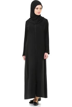 5efa000eff7ba İhvan 5008-1 Pratik, Kendinden Örtülü Siyah Namaz Elbisesi ...