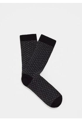 Mavi Siyah Uzun Çorap