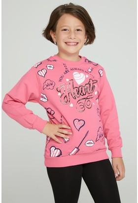 FullaModa Kız Çocuk Baskılı Sweatshirt