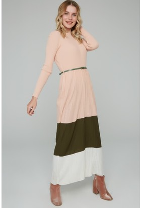 FullaModa Kadın Triko Pileli Elbise