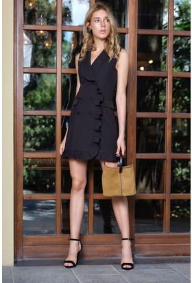 İroni Fırfır Detaylı Siyah Yelek Elbise - 5209-891 Siyah