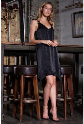 İroni Omuz Fiyonklu Siyah Saten Mini Elbise - 5212-1262 Siyah