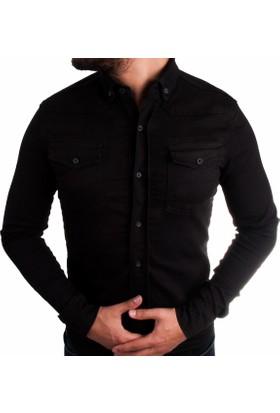 Las Vegas Siyah Renk Erkek Kot Gömlek