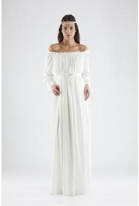 Isabella Hamile Kadın Elbise - Beyaz