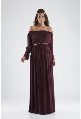 Isabella Hamile Kadın Elbise - Mürdüm