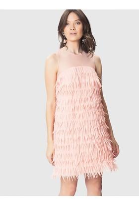 Roman Kadın Sırt ve Omuz Detaylı Pembe Elbise