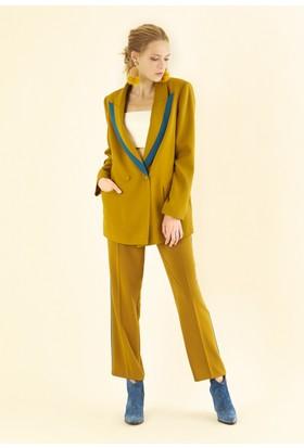 Roman Kadın K19 Yaka Detaylı Olive Ceket