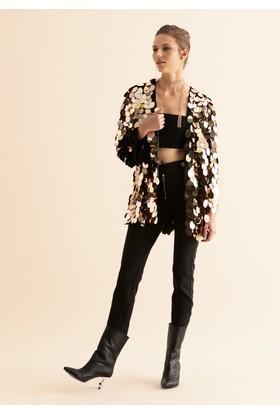 Roman Kadın K19 Parlak Detaylı Gold Ceket