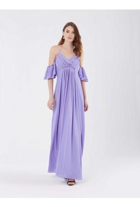 Roman Kadın Omuz Detaylı Lila Abiye Elbise
