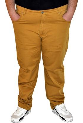 ModeXL Büyük Beden Erkek Keten Pantolon 1980 Hardal