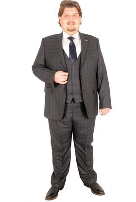 ModeXL Takım Elbise Yelek Ekose 17020 Füme