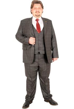 ModeXL Takım Elbise Yelek Ekose 17021 Fume