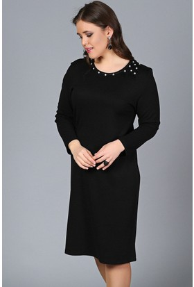Womenice Siyah Yaka Boncuk Taşlı Elbise