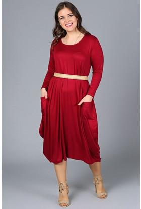 Womenice Bordo Cepli Jumbo Elbise