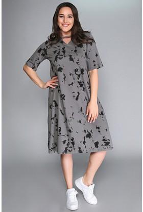 Womenice Gri Yaka V Pencere Baskılı Elbise