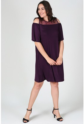 Womenice Mürdüm Göğüs Tül Kol Dekolteli Elbise