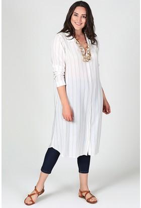 Womenice Ekru Çizgili Gömlek Tunik