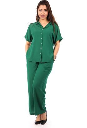Womenice Yeşil Kısa Kol Krinkıl Gömlek