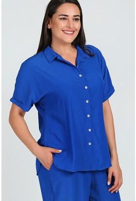 Womenice Saks Kısa Kol Krinkıl Gömlek