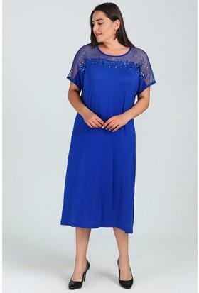 Womenice Saks Göğüs Tül Pullu Elbise