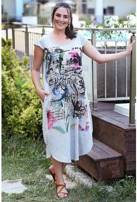 Womenice Gri Viskon Önü Baskılı Elbise