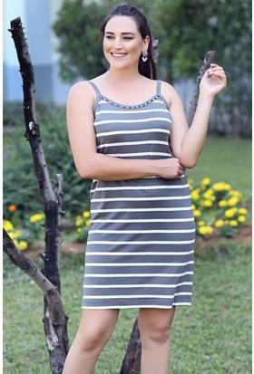 Womenice Gri İp Askılı Yaka Taşlı Çizgili Elbise