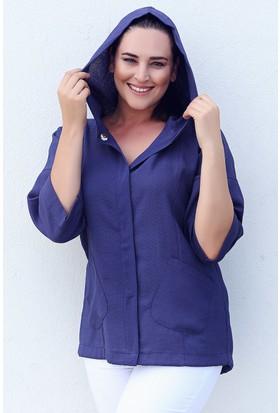 Womenice Lacivert Kapşonlu Ceket