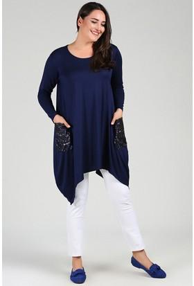 Womenice Lacivert Cebi Pullu Jumbo Elbise