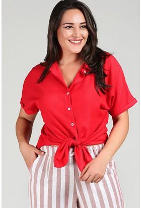 Womenice Kırmızı Kısa Kol Krinkıl Gömlek