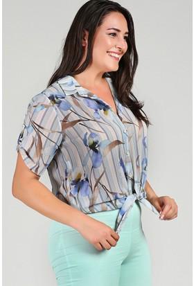 Womenice Mavi Kolu Düğmeli Çiçekli Şifon GömlekGömlek