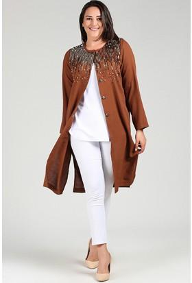 Womenice Kahverengi Pul Detaylı Ceket Kahverengi