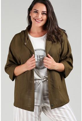 Womenice Haki Kapşonlu Ceket