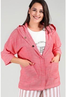 Womenice Pembe Kapşonlu Ceket