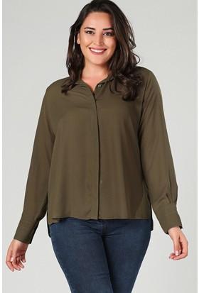 Womenice Haki Yan Yırtmaçlı Gömlek