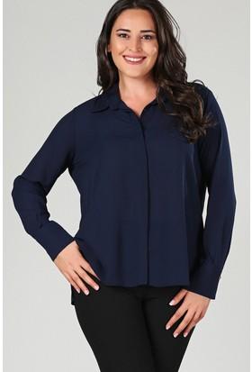 Womenice Lacivert Yan Yırtmaçlı Gömlek