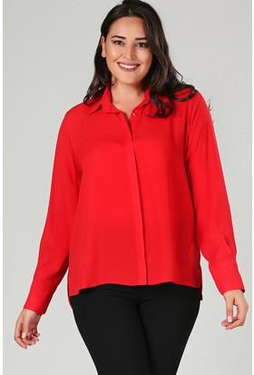 Womenice Kırmızı Yan Yırtmaçlı Gömlek