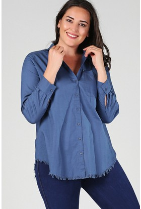 Womenice Lacivert Eteği Püskül Gömlek