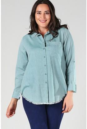 Womenice Yeşil Eteği Püskül Gömlek